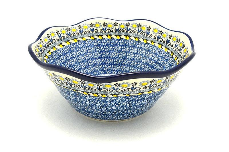 "Ceramika Artystyczna Polish Pottery Bowl - Curvy Edge - 8"" - Daisy Maize 691-2178a (Ceramika Artystyczna)"