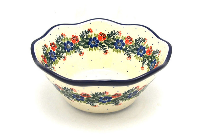 "Ceramika Artystyczna Polish Pottery Bowl - Curvy Edge - 8"" - Garden Party 691-1535a (Ceramika Artystyczna)"