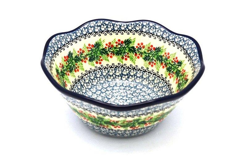 "Ceramika Artystyczna Polish Pottery Bowl - Curvy Edge - 8"" - Holly Berry 691-1734a (Ceramika Artystyczna)"