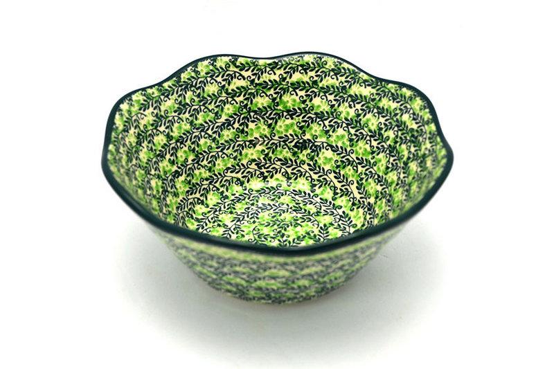 "Ceramika Artystyczna Polish Pottery Bowl - Curvy Edge - 8"" - Irish Meadow 691-1888q (Ceramika Artystyczna)"