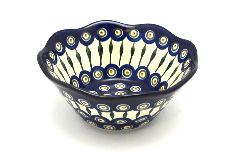 "Polish Pottery Bowl - Curvy Edge - 8"" - Peacock"