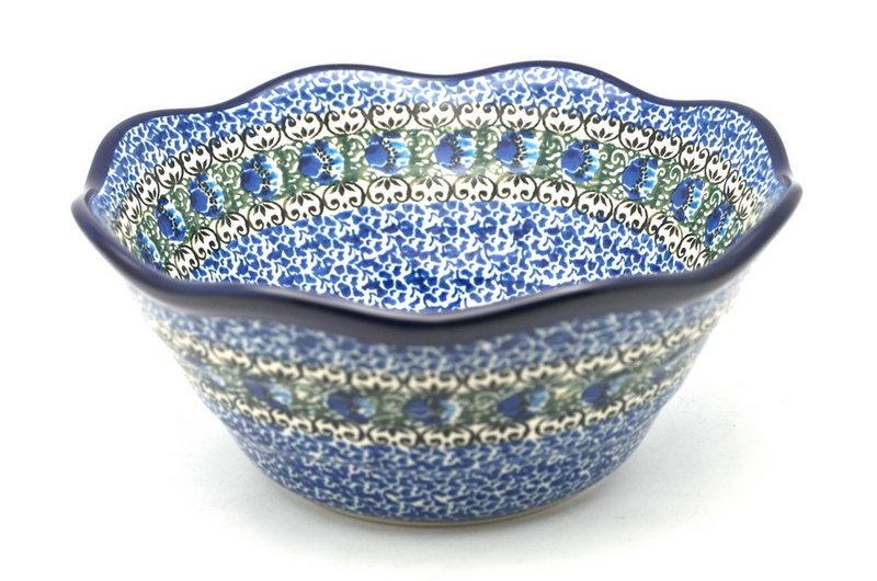 "Ceramika Artystyczna Polish Pottery Bowl - Curvy Edge - 8"" - Peacock Feather 691-1513a (Ceramika Artystyczna)"