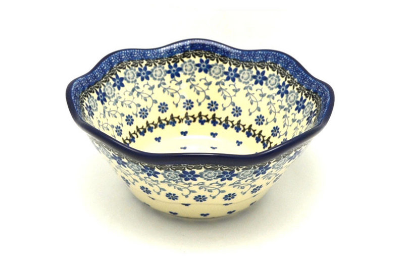 "Polish Pottery Bowl - Curvy Edge - 8"" - Silver Lace"