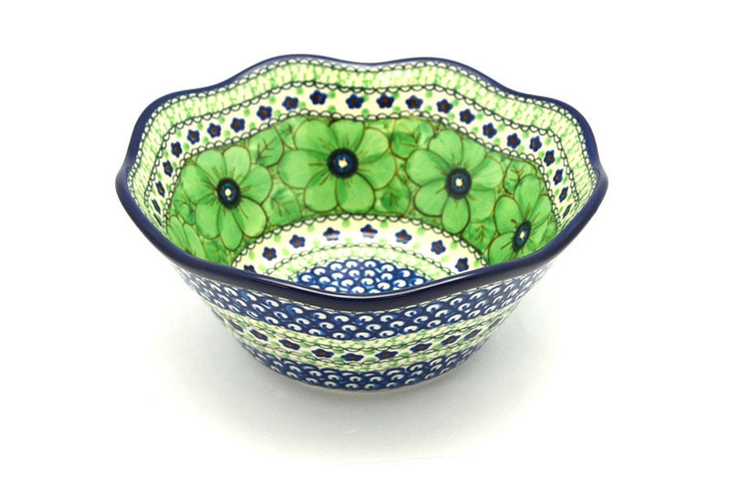 """Ceramika Artystyczna Polish Pottery Bowl - Curvy Edge - 8"""" - Unikat Signature U408A 691-U408A (Ceramika Artystyczna)"""