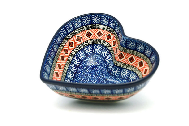 Ceramika Artystyczna Polish Pottery Bowl - Deep Heart - Aztec Sun B37-1350a (Ceramika Artystyczna)