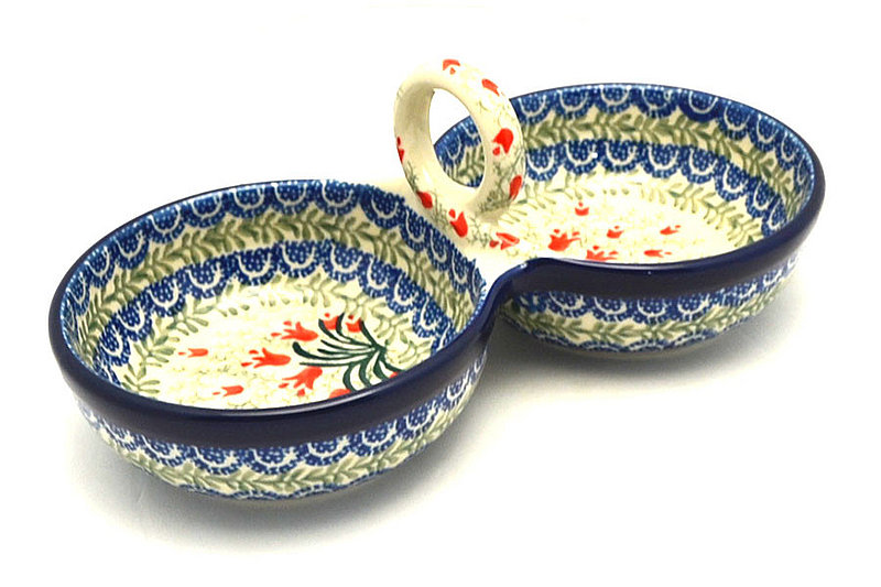 Ceramika Artystyczna Polish Pottery Bowl - Double Serving - Crimson Bells 942-1437a (Ceramika Artystyczna)