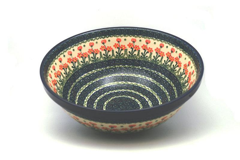 "Ceramika Artystyczna Polish Pottery Bowl - Grand Nesting (10 3/4"") - Peach Spring Daisy 055-560a (Ceramika Artystyczna)"