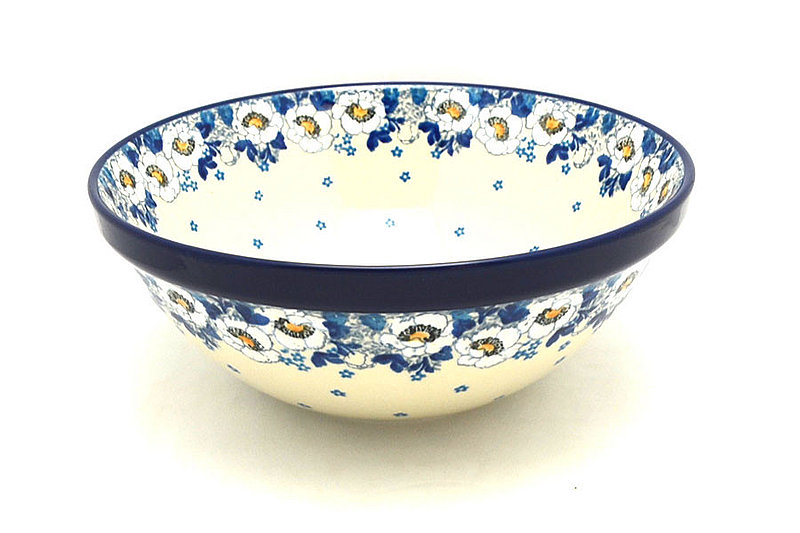 "Ceramika Artystyczna Polish Pottery Bowl - Grand Nesting (10 3/4"") - White Poppy 055-2222a (Ceramika Artystyczna)"