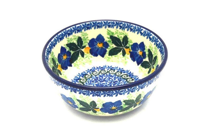Ceramika Artystyczna Polish Pottery Bowl - Ice Cream/Dessert - Blue Pansy 017-1552a (Ceramika Artystyczna)