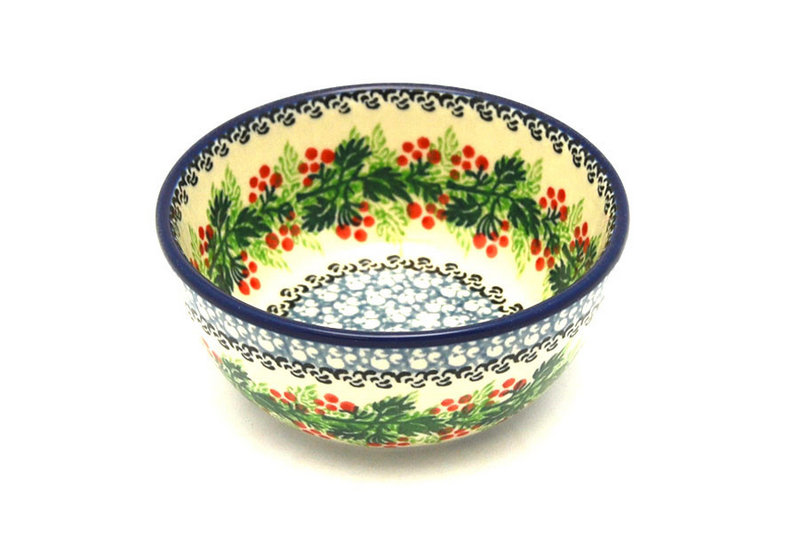 Ceramika Artystyczna Polish Pottery Bowl - Ice Cream/Dessert - Holly Berry 017-1734a (Ceramika Artystyczna)