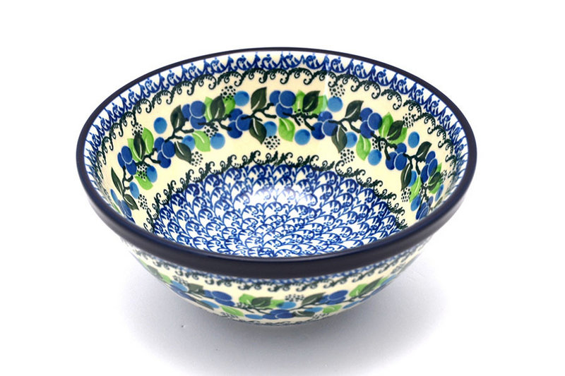 "Ceramika Artystyczna Polish Pottery Bowl - Large Nesting (7 1/2"") - Blue Berries 057-1416a (Ceramika Artystyczna)"