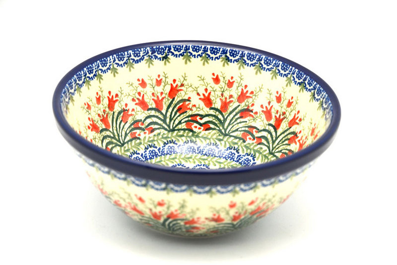 "Ceramika Artystyczna Polish Pottery Bowl - Large Nesting (7 1/2"") - Crimson Bells 057-1437a (Ceramika Artystyczna)"