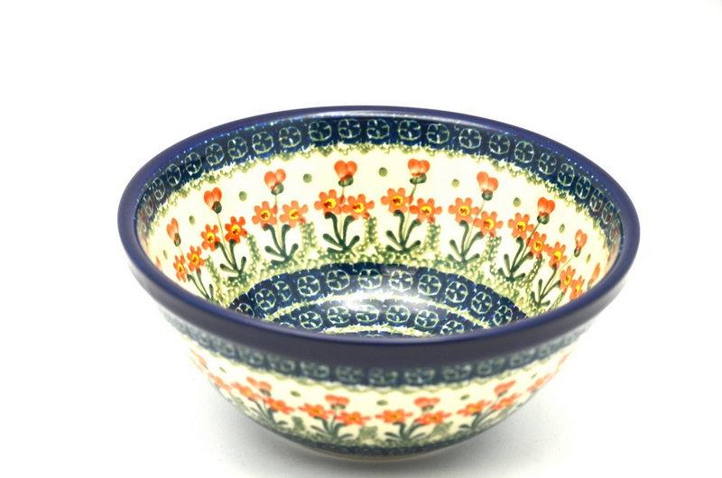 "Ceramika Artystyczna Polish Pottery Bowl - Large Nesting (7 1/2"") - Peach Spring Daisy 057-560a (Ceramika Artystyczna)"