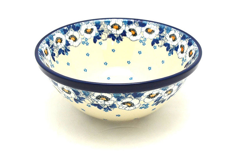 "Ceramika Artystyczna Polish Pottery Bowl - Large Nesting (7 1/2"") - White Poppy 057-2222a (Ceramika Artystyczna)"