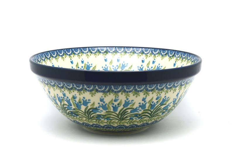 "Ceramika Artystyczna Polish Pottery Bowl - Larger Nesting (9"") - Blue Bells 056-1432a (Ceramika Artystyczna)"