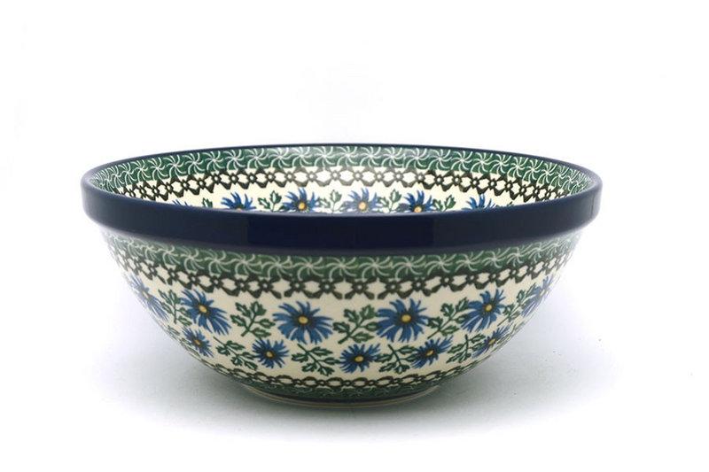 "Ceramika Artystyczna Polish Pottery Bowl - Larger Nesting (9"") - Blue Chicory 056-976a (Ceramika Artystyczna)"