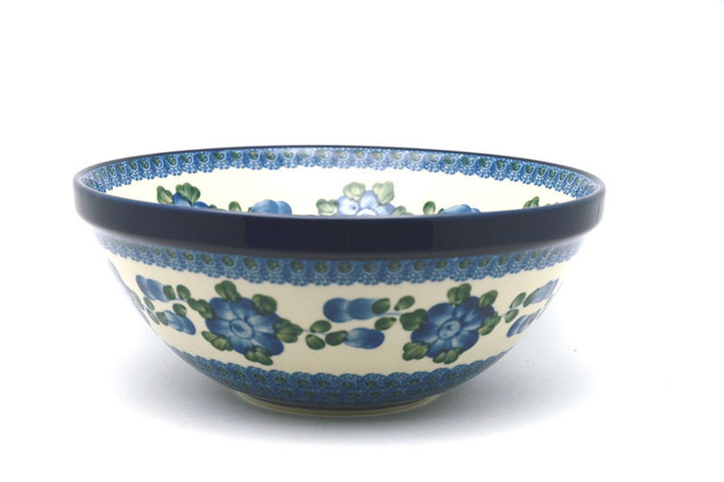"Ceramika Artystyczna Polish Pottery Bowl - Larger Nesting (9"") - Blue Poppy 056-163a (Ceramika Artystyczna)"