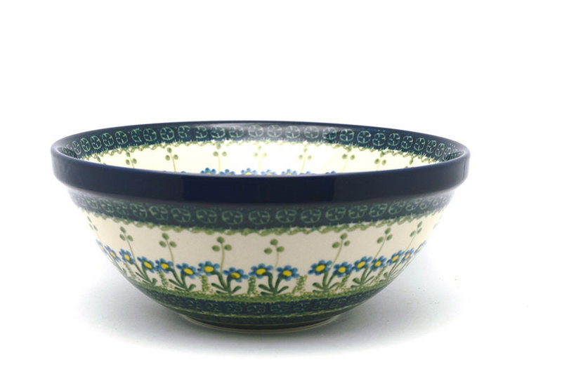 "Ceramika Artystyczna Polish Pottery Bowl - Larger Nesting (9"") - Blue Spring Daisy 056-614a (Ceramika Artystyczna)"