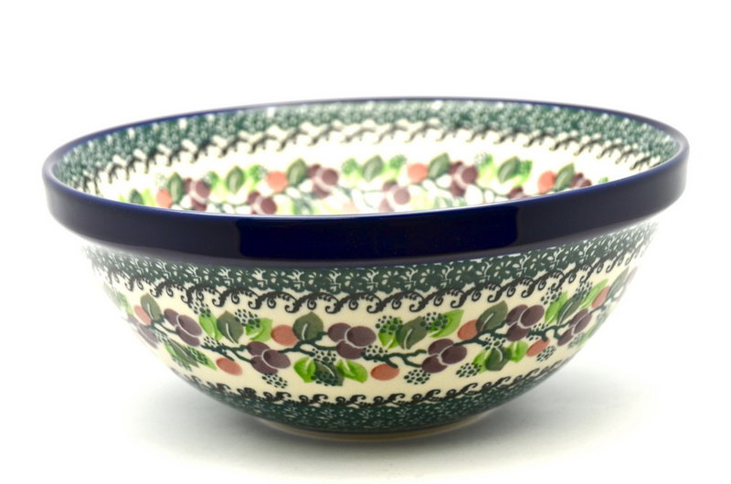 "Ceramika Artystyczna Polish Pottery Bowl - Larger Nesting (9"") - Burgundy Berry Green 056-1415a (Ceramika Artystyczna)"