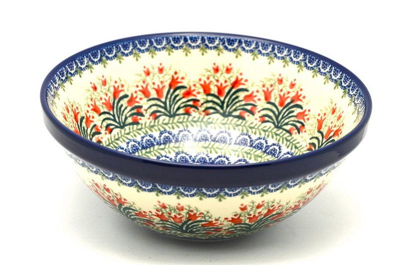 "Ceramika Artystyczna Polish Pottery Bowl - Larger Nesting (9"") - Crimson Bells 056-1437a (Ceramika Artystyczna)"