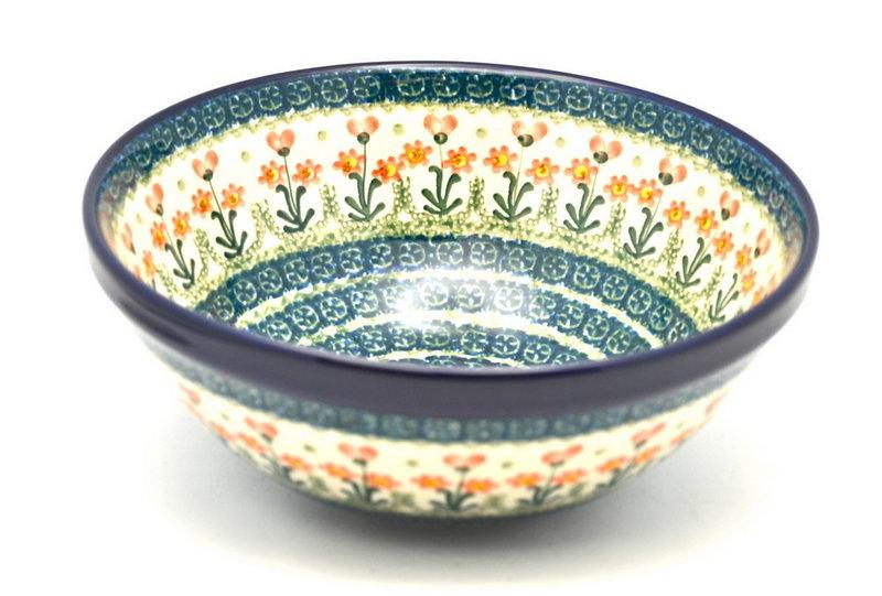 "Ceramika Artystyczna Polish Pottery Bowl - Larger Nesting (9"") - Peach Spring Daisy 056-560a (Ceramika Artystyczna)"