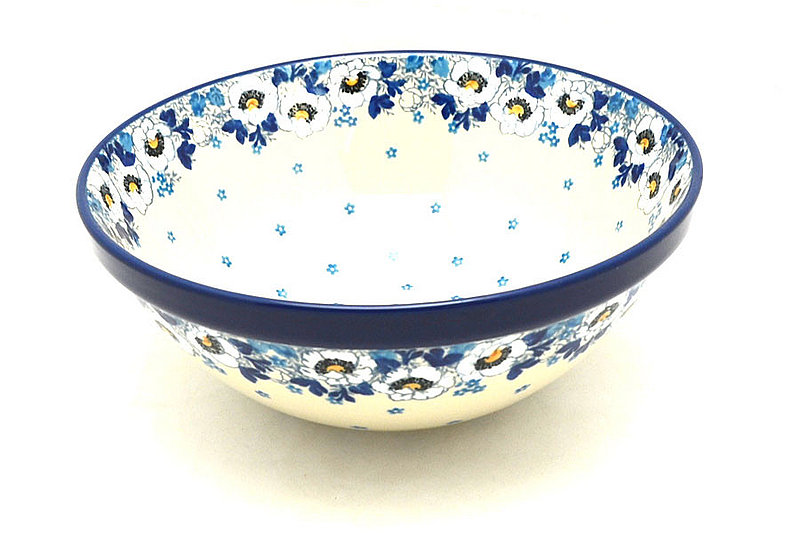 "Polish Pottery Bowl - Larger Nesting (9"") - White Poppy"