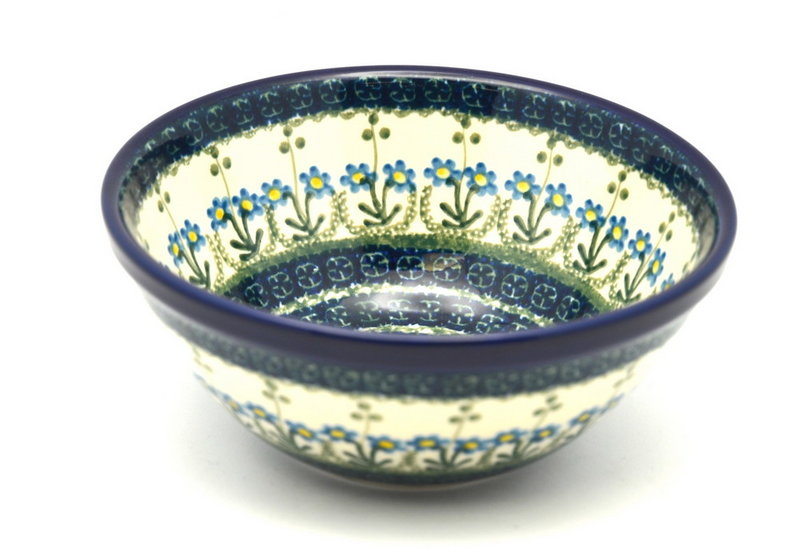 "Ceramika Artystyczna Polish Pottery Bowl - Medium Nesting (6 1/2"") - Blue Spring Daisy 058-614a (Ceramika Artystyczna)"