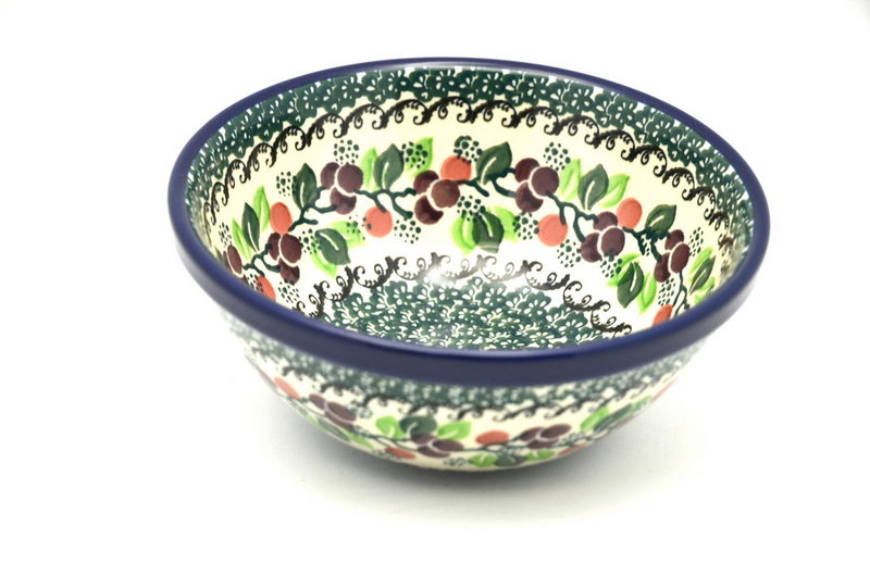 "Ceramika Artystyczna Polish Pottery Bowl - Medium Nesting (6 1/2"") - Burgundy Berry Green 058-1415a (Ceramika Artystyczna)"