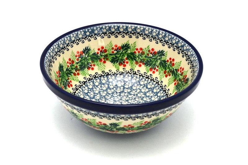 "Ceramika Artystyczna Polish Pottery Bowl - Medium Nesting (6 1/2"") - Holly Berry 058-1734a (Ceramika Artystyczna)"