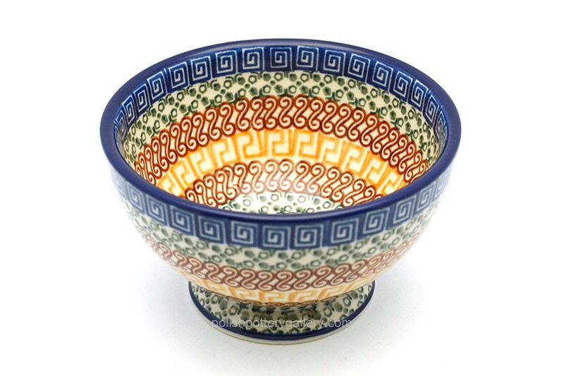 Polish Pottery Bowl - Pedestal - Small - Autumn