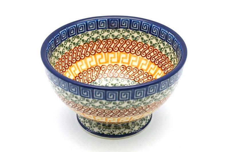 Ceramika Artystyczna Polish Pottery Bowl - Pedestal - Small - Autumn 206-050a (Ceramika Artystyczna)