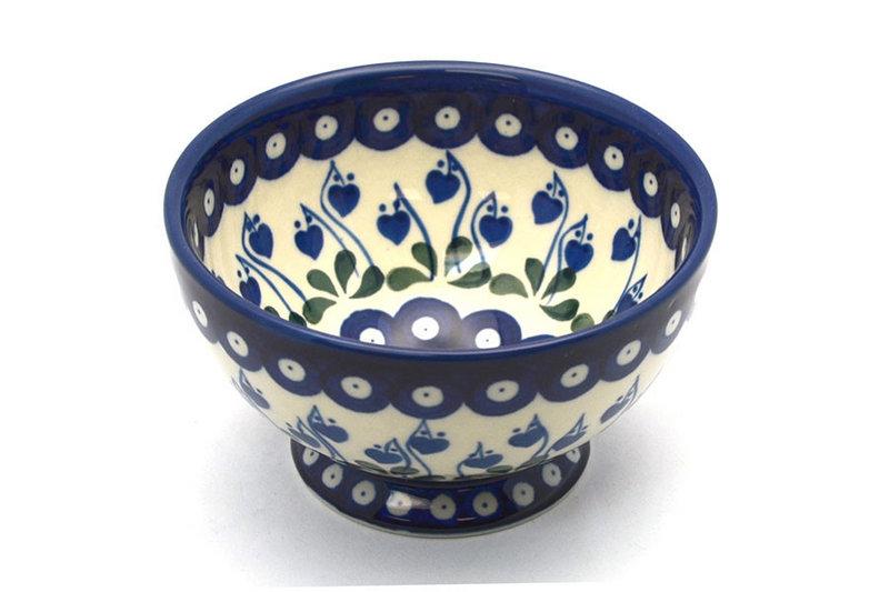 Ceramika Artystyczna Polish Pottery Bowl - Pedestal - Small - Bleeding Heart 206-377o (Ceramika Artystyczna)