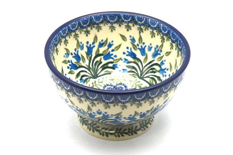 Ceramika Artystyczna Polish Pottery Bowl - Pedestal - Small - Blue Bells 206-1432a (Ceramika Artystyczna)