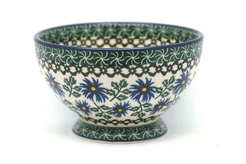 Ceramika Artystyczna Polish Pottery Bowl - Pedestal - Small - Blue Chicory 206-976a (Ceramika Artystyczna)