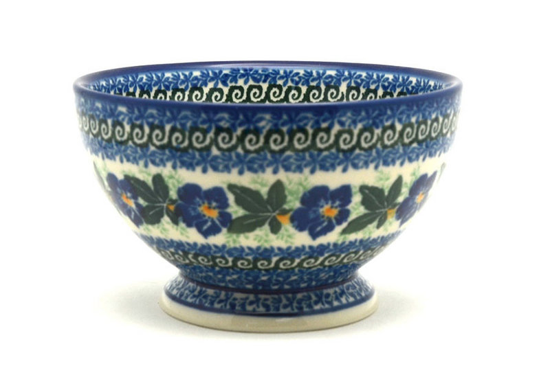 Ceramika Artystyczna Polish Pottery Bowl - Pedestal - Small - Blue Pansy 206-1552a (Ceramika Artystyczna)