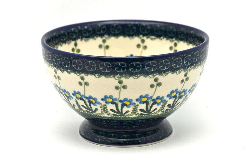 Ceramika Artystyczna Polish Pottery Bowl - Pedestal - Small - Blue Spring Daisy 206-614a (Ceramika Artystyczna)
