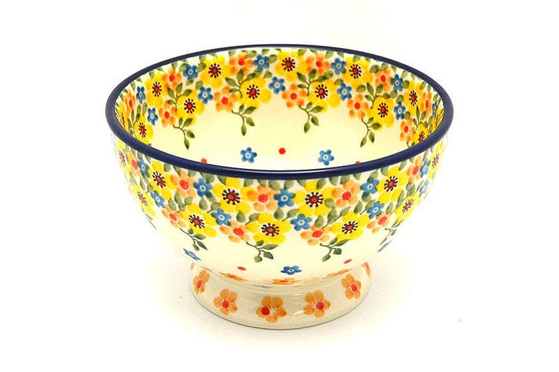 Ceramika Artystyczna Polish Pottery Bowl - Pedestal - Small - Buttercup 206-2225a (Ceramika Artystyczna)