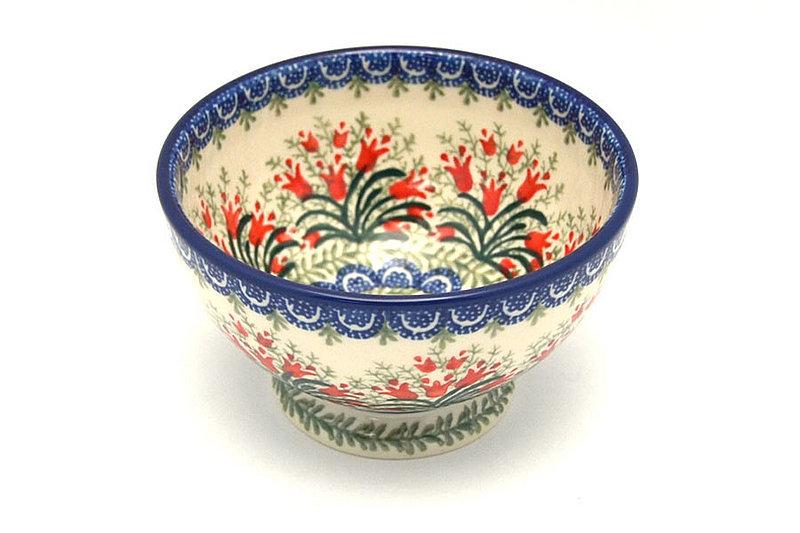 Ceramika Artystyczna Polish Pottery Bowl - Pedestal - Small - Crimson Bells 206-1437a (Ceramika Artystyczna)