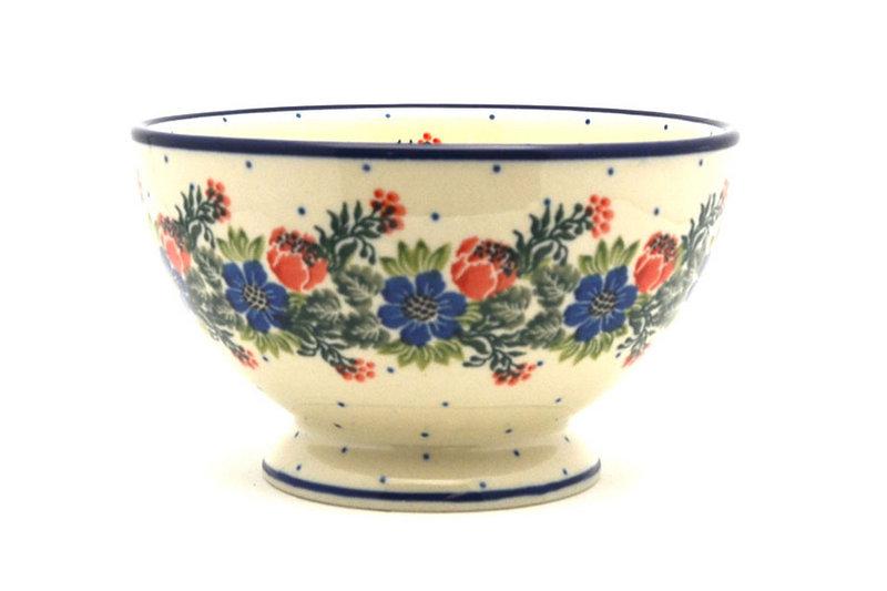 Ceramika Artystyczna Polish Pottery Bowl - Pedestal - Small - Garden Party 206-1535a (Ceramika Artystyczna)