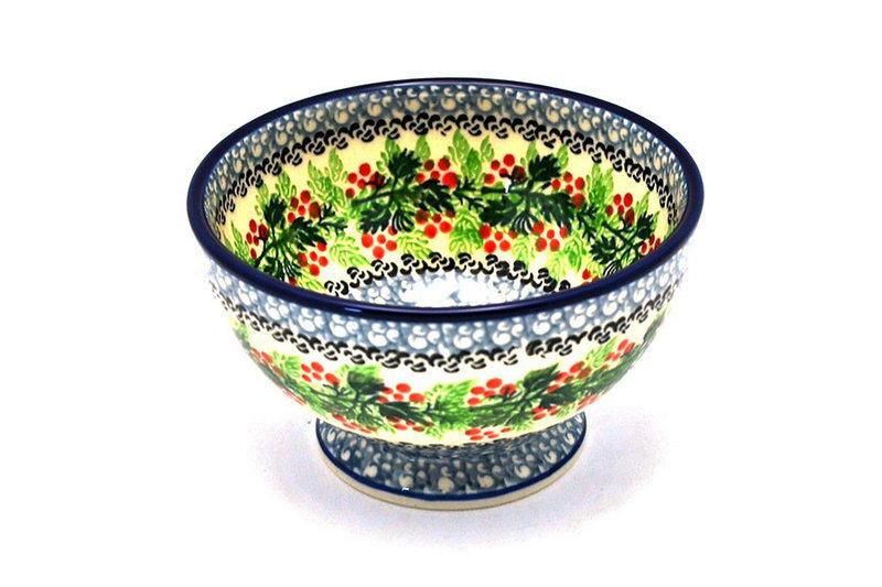 Ceramika Artystyczna Polish Pottery Bowl - Pedestal - Small - Holly Berry 206-1734a (Ceramika Artystyczna)