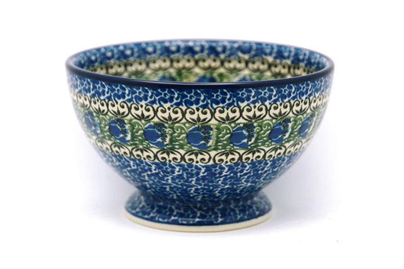 Ceramika Artystyczna Polish Pottery Bowl - Pedestal - Small - Peacock Feather 206-1513a (Ceramika Artystyczna)