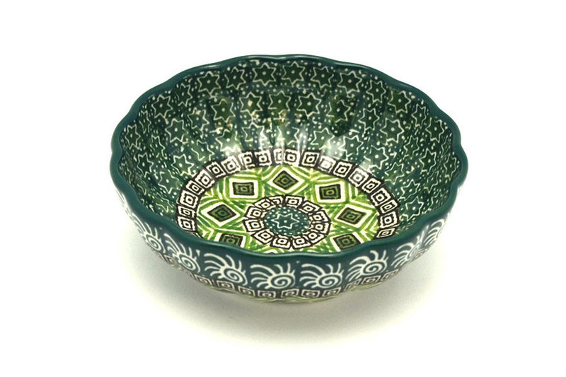 Polish Pottery Bowl - Shallow Scalloped - Small - Aztec Forest