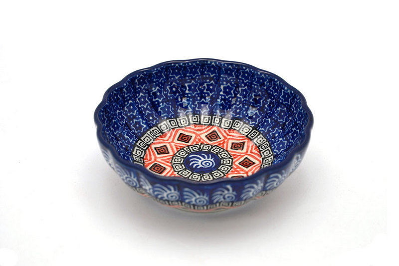 Ceramika Artystyczna Polish Pottery Bowl - Shallow Scalloped - Small - Aztec Sun 023-1350a (Ceramika Artystyczna )