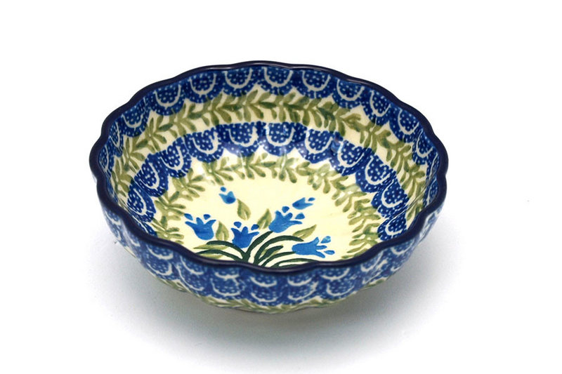 Polish Pottery Bowl - Shallow Scalloped - Small - Blue Bells