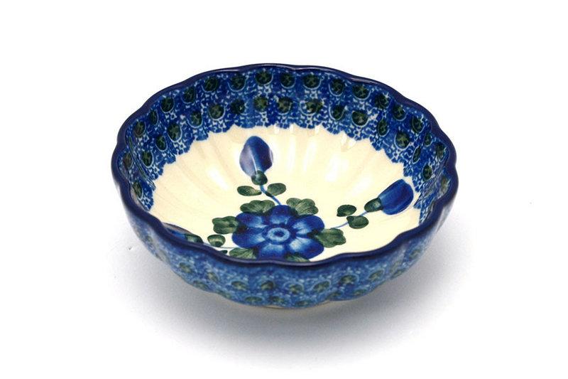Polish Pottery Bowl - Shallow Scalloped - Small - Blue Poppy