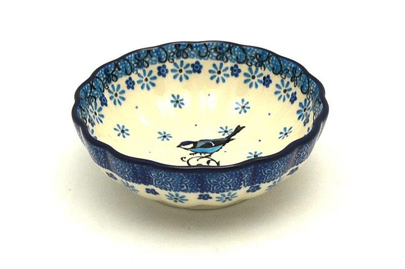 Ceramika Artystyczna Polish Pottery Bowl - Shallow Scalloped - Small - Bluebird 023-2529a (Ceramika Artystyczna )
