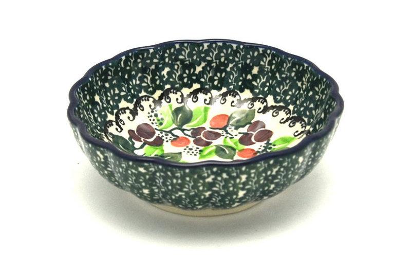 Polish Pottery Bowl - Shallow Scalloped - Small - Burgundy Berry Green