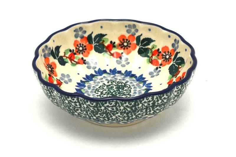 Ceramika Artystyczna Polish Pottery Bowl - Shallow Scalloped - Small - Cherry Blossom 023-2103a (Ceramika Artystyczna)