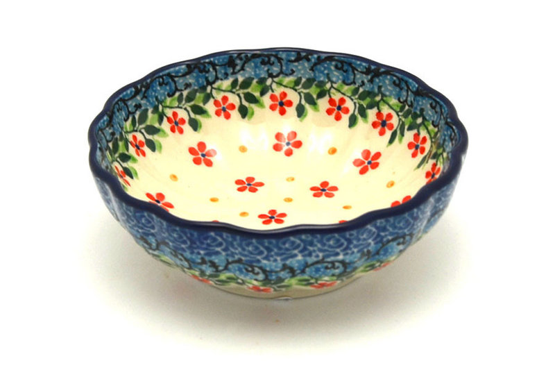 Ceramika Artystyczna Polish Pottery Bowl - Shallow Scalloped - Small - Cherry Jubilee 023-2284a (Ceramika Artystyczna )