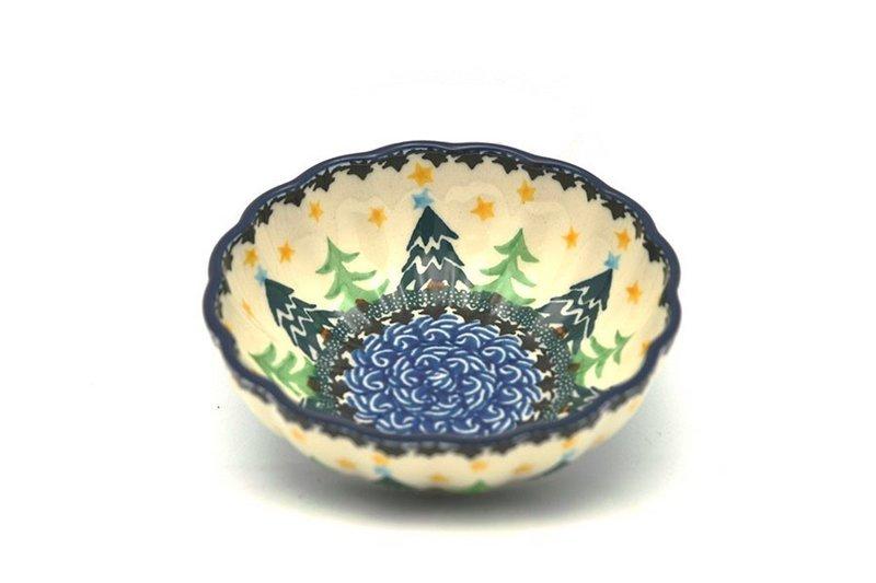 Ceramika Artystyczna Polish Pottery Bowl - Shallow Scalloped - Small - Christmas Trees 023-1284a (Ceramika Artystyczna)